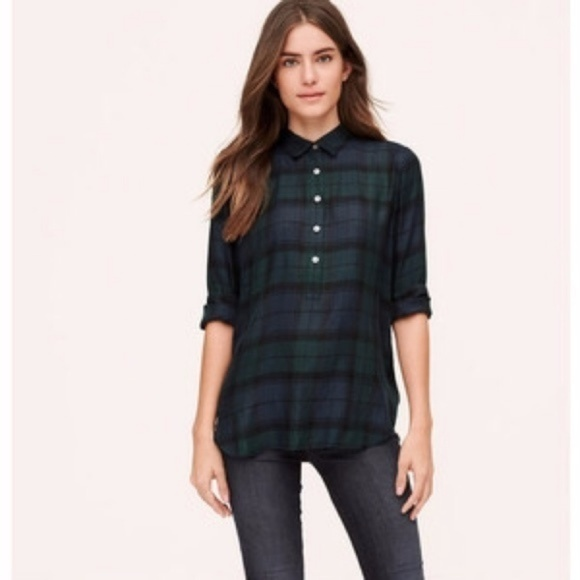 3dadba2f5b87 LOFT Tops - LOFT The Softened Shirt Plaid Popover